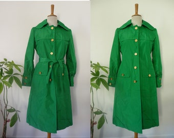 Pierre CARDIN Paris creation coat / trench coat belt, Raincoat Jacket / green / Vintage / couture / Seventies 1970 french