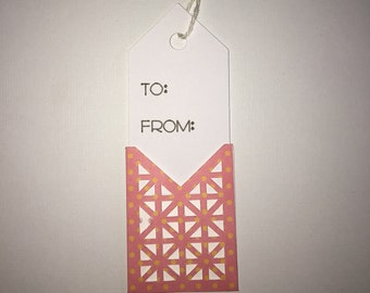 10 gift tags with triangle cut out in various designs