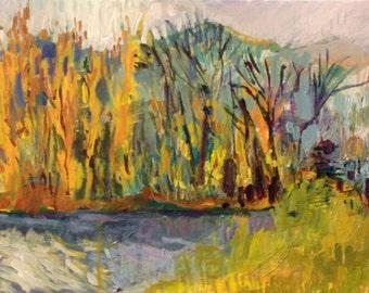 "Poplars on the Panaro   Laurie Fox Pessemier   Acrylic/canvas  10 x 20""  25 x 50 cm"