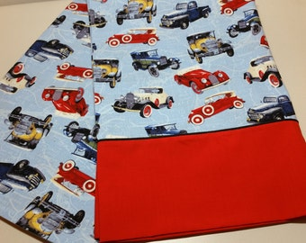 Pillowcase with Antique Cars and Trucks