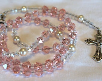 Crystal Blush Pink and Pearl First Communion Rosary