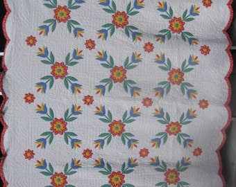 """Vintage Queen Size Quilt """"Tulip Applique"""" Stuffed Work Mid Century, Antique Hand Quilted Blanket,Red,Green,Yellow,Scalloped Border,#17994"""