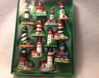 Lighthouse garland 12 hand painted light houses Christmas