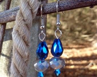 Elegant teardrop earrings, Blue and silver earrings, Sparkly earrings, Bridesmaid earrings, Deep blue earrings