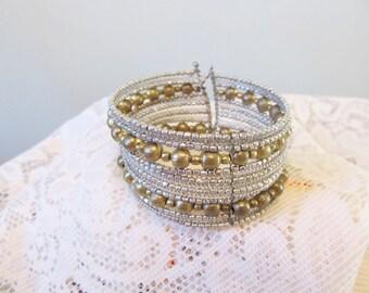 Vintage cuff bracelet, Boho bracelet, adjustable cuff bracelet, Art Deco, mixed metals