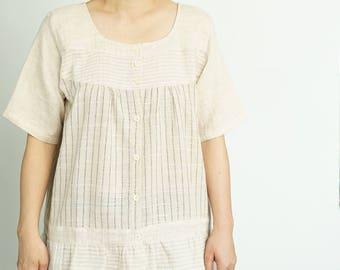 Patchwork Linen Top,Linen Blouse,Striped Linen Top,Linen Style