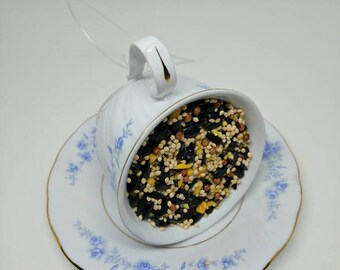 Vintage tea cup suet bird feeder, one of a kind!