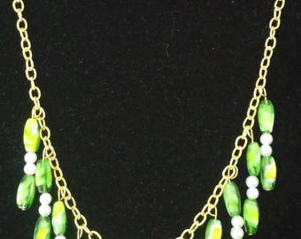 Green Stone, Pearl and gold Necklace