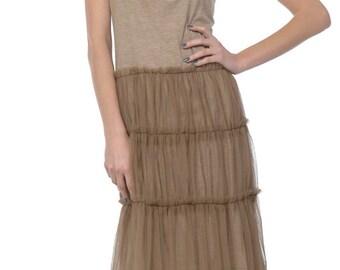 Mid Length Slip Dress W/ Mesh Bottom