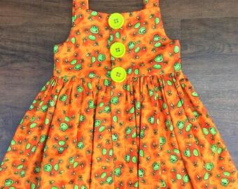 Toddler Girls Dress, Sz 2, Girls Summer Dress, Girls Orange Dress, Girls Dress, Girls Clothing, Trendy Kids Clothes, Toddler Dress