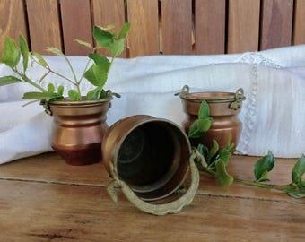 Copper Miniatures, Set of 3 Pots, Vintage Copper, Decorative Copper, Mini Pots, French Copper, Farmhouse Decor, Rustic Copper