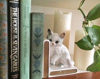 Porcelain Cat Bookend