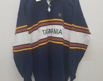 Vintage Canterbury Rugby Tasmania Nice Design Polo Rugby Shirt XL Size