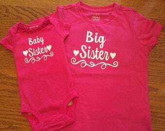 Big sister, baby sister, big brother, baby brother, big and little shirts, sibling shirts, pregnancy announcement, baby announcement