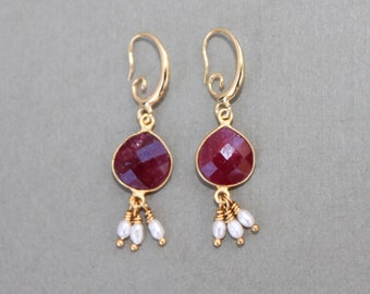 Faceted Ruby Drop Freshwater Pearl Gold Fancy Hook Earrings Handcrafted