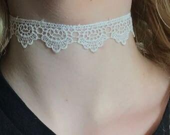 Delicate white crochet choker