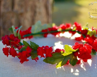 "The ""Holly"" holiday crown // flower crown wedding, red wedding, red flower headband, floral headpiece, head wreath, holiday headpiece"