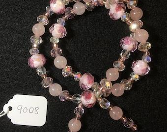 Rose Quartz Wraparound Bracelet (Large)