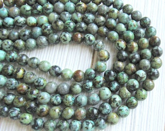 8mm African Turquoise, full strand, green turquoise, 8mm african beads, Mala beads, bracelet beads, bead supplier, 8mm green beads