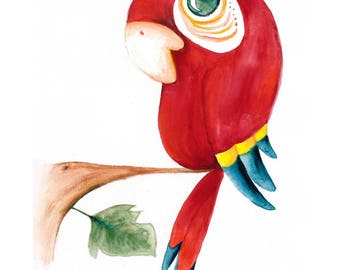 Watercolour Baby Red Parrot Print