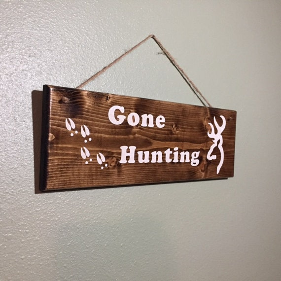 Gone Fishing Signs Decor: Gone Hunting Sign Rustic Wood Sign Home Decor Hunting