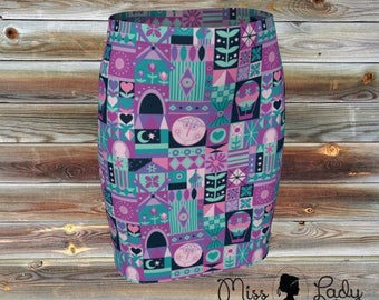Small world inspired pattern fitted skirt
