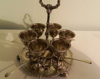 Beautiful Antique Silver Plate 6 Egg Cups on Stand with Spoons Vintage Breakfast Dining Present Gift