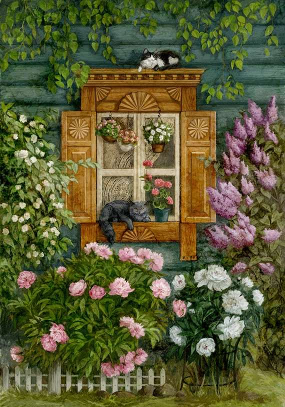 Cross Stitch Garden - Cross Stitch Cat - Cross Stitch Lilac - Cross Stitch Flower - Floral Cross Stitch - Cross Stitch Pattern - Printable