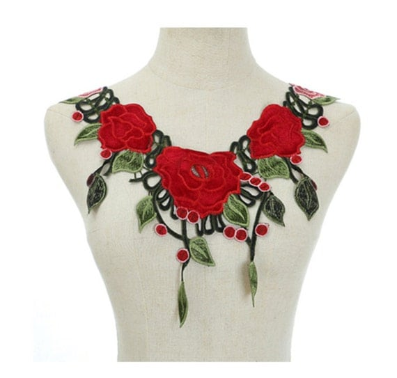 Rose Flower Embroidery Collar Sew On Applique Patch