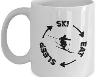 Skiing Mug, Eat Sleep Ski Mug is a Great Skiing Gift For Skier! Get White Ceramic Mug & Deliver Perfect Ski Gift Coffee Mug As Gift For Him!
