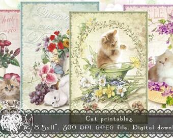 Cats Digital Collage Sheet, Printable Vintage Collage sheet
