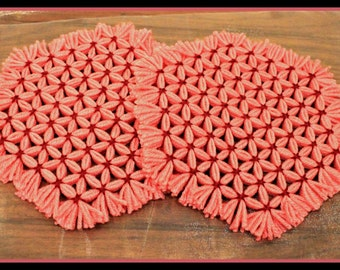 Set of 2 Homemade Loom Hot Pad, Pink & Maroon Hot Pads, Loom Hotpads, Trivets