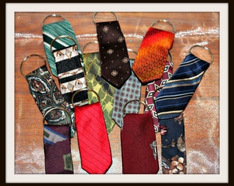 Men's Necktie Key Rings, Neck Tie Key Rings, Fathers Day Gifts, Up-Cycled Necktie Keyrings