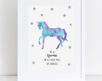 It is a picture of Transformative Be a Unicorn in a Field of Horses Free Printable