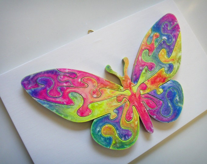 Wooden Puzzle: Rainbow Butterfly Spring, Ready To Hang Handmade Art Healing Smart Toy Family Gift Brain Game Acrylic On Pieces by Samo Svete