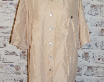 Plus size 18 short sleeve vintage 80s oversize shirt beige pure silk (GL93)