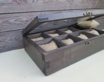 gift for men Watch Box Rustic Watch Box for Eight | 8 watches Men father's day gift for him, Watch Box Wood Men's Watch Box Color gray shale