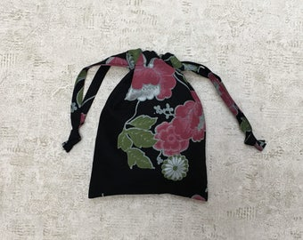 smallbag unique fabric flower pink and green - cotton bag black