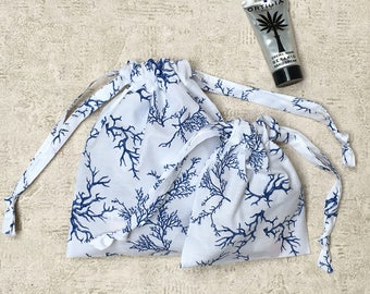printed white smallbags blue coral - 2 sizes - cotton bags - zero waste