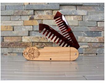 Sugar Skull Wood Beard Comb, Wood and Acrylic Folding Comb