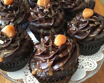 Double Chocolate Caramel Cupcakes