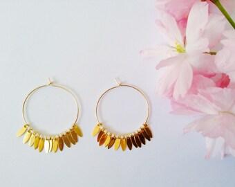 "Medium White ""Sioux"" hoop earrings in 14 Kt Gold Filled, Hoop Earrings, Golden Earrings, Gold Hoop earrings"