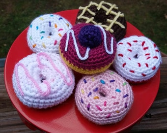 Amigurumi Donuts with sprinkles, icing, and berries options
