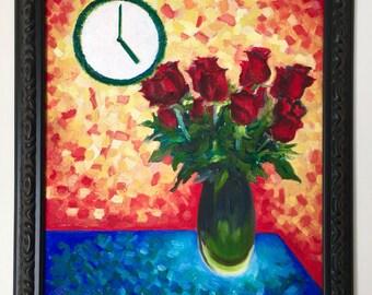vase and clock - original oil painting