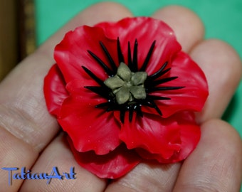 Poppy. Great Red  Chabochon.  Handmade Polymer clay Flower. Red Poppy. Jewelry Supplyes.