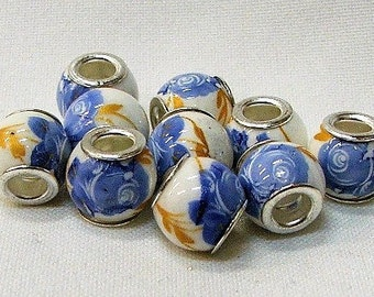 Large hole porcelain beads in white with blue flower, set of 10.  #14