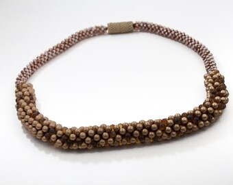 Bronze, Golden and Brown Beaded Necklace with Light Beige Magnetic Clasp