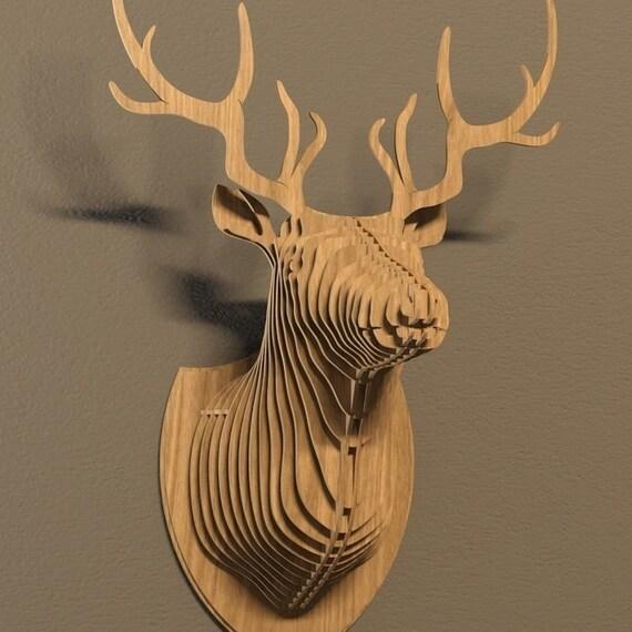 Deer Head Plan Vector File Faux Taxidermy Laser Wall Art