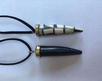 Vintage inspired 2 Horn Necklace set