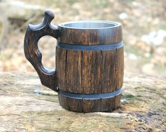 Wooden Beer Mug,Tankard, Groomsman gift, Personalized beer mug,Wood Beer mug 22oz (0.6l) Brown Wood Beer Mug